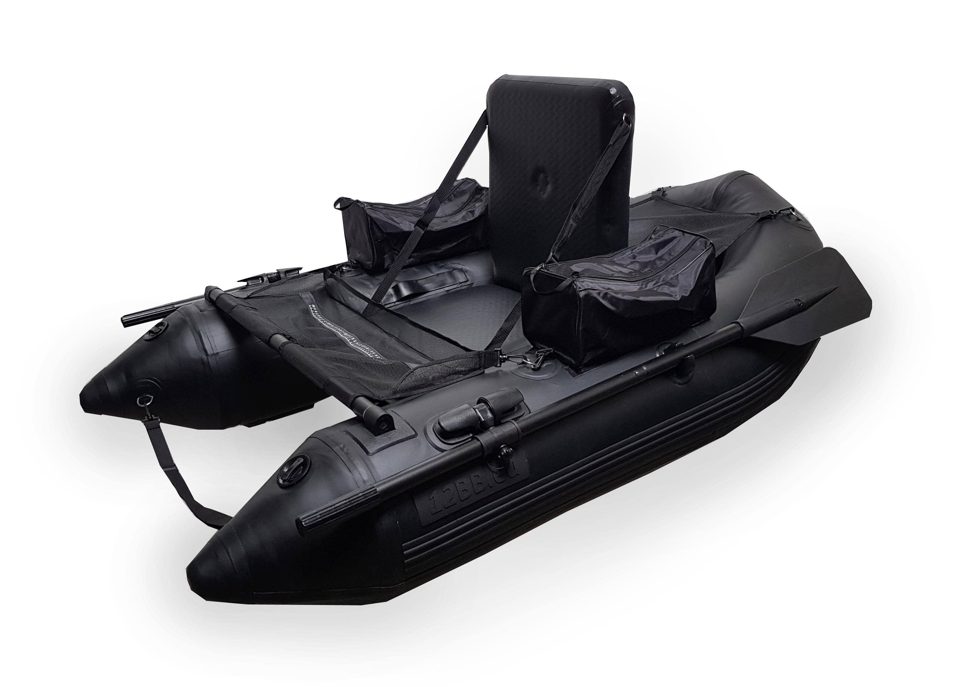 """12BB - Belly Boat, type STEALTH """"Totally Black"""" mit aufblasbahrem Sitz und Boden Inkl. Paddel"""